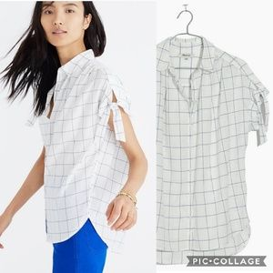 Madewell Windowpane Central Tie-Sleeve Shirt